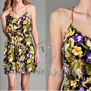 Hawaiian print cross back dress